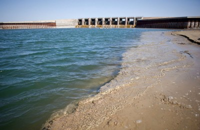 The spillway below the 13-kilometer dike at the southern edge of the Northern Aral Sea.
